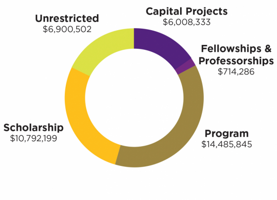Program support - $14.49 million, Scholarship support - $10.8 million, Unrestricted - $6.9 million, Capital projects - $6 million, Fellowship & professorships - $714,286