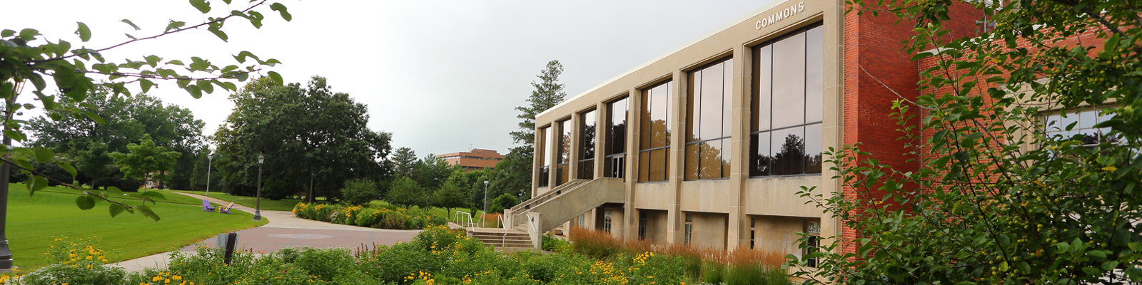 An exterior view of the Commons at the University of Northern Iowa
