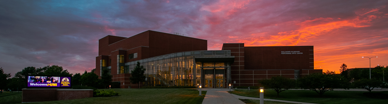 The Gallagher Bluedorn Performing Arts Center at sunset