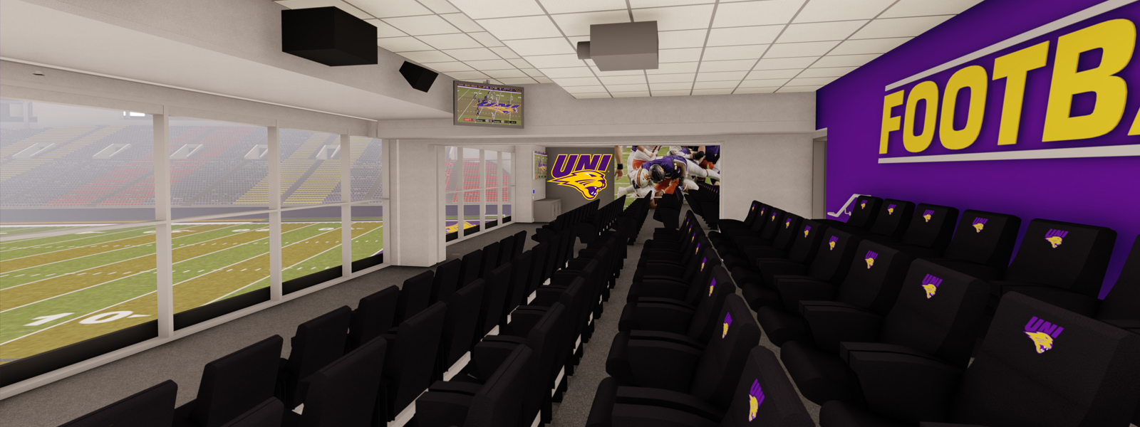 West view of the football team meeting room with stadium seating overlooking the UNI-Dome field