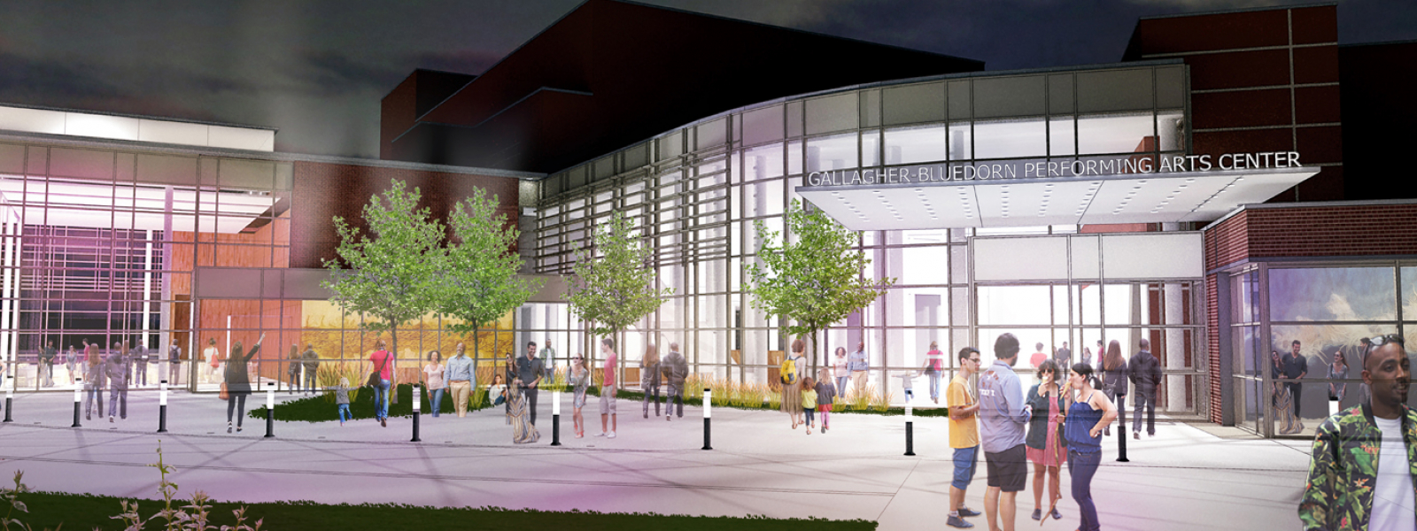 A rendering of the Gallagher Bluedorn Performing Arts Center renovation