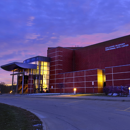Exterior shot of the Gallagher Bluedorn Performing Arts Center