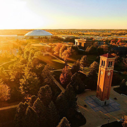 Ariel shot of the Campanile and Dome at sunset
