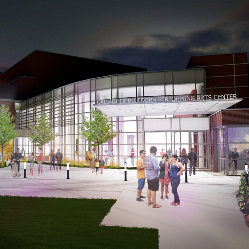 A rendering of the Gallagher Bluedorn Performing Arts Center proposed renovation