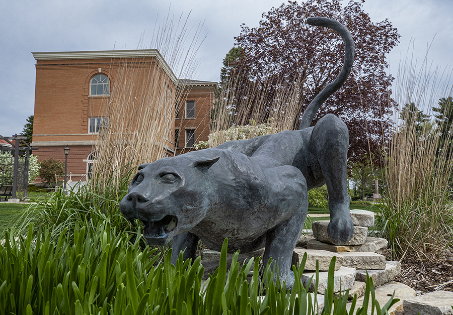 Panther sculpture in UNI's Memorial Garden